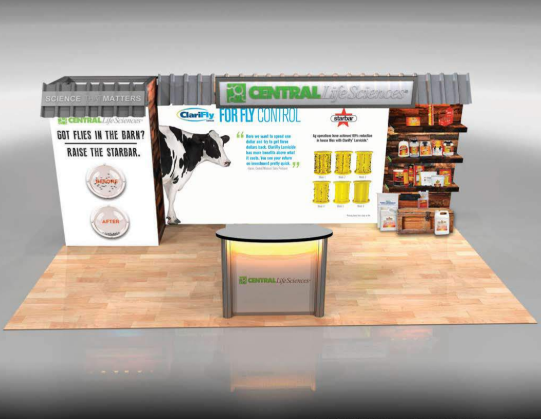 Central Life Sciences tradeshow booth with dairy cow images and Starbar products on shelf