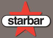 Starbar products logo of a red star and white label with black text